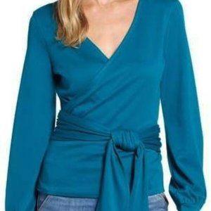 Halogen Teal Blue Knit Wrap Tie Top Blouse